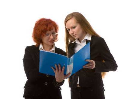 two young women with folder on white background photo