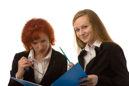 the two young women with folder on white background photo
