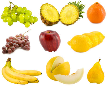 the tropical fruits collection isolated on white background Stock Photo