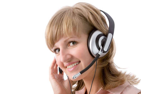 the young attractive blonde woman with headset photo