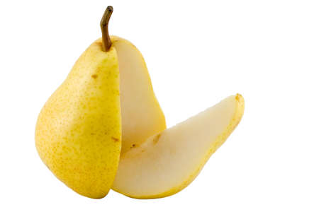 the sliced yellow pear isolated with clipping path photo