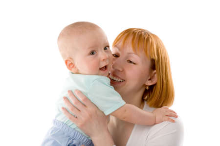 the redhead woman with baby on white background photo