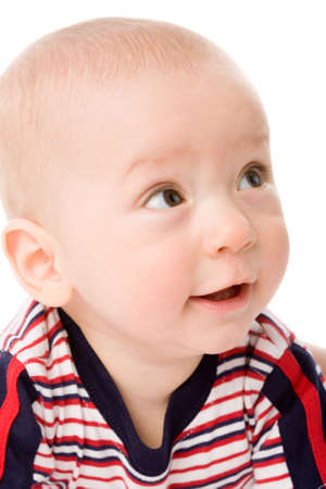 the portrait of little boy on white background photo