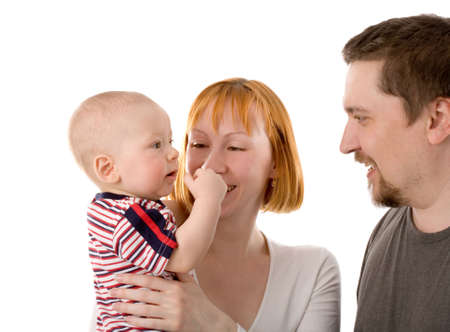 the mother, father and son on white background photo