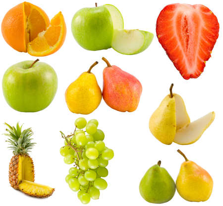 the fruits collection isolated on white background
