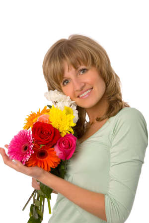the young woman with flowers on white background photo