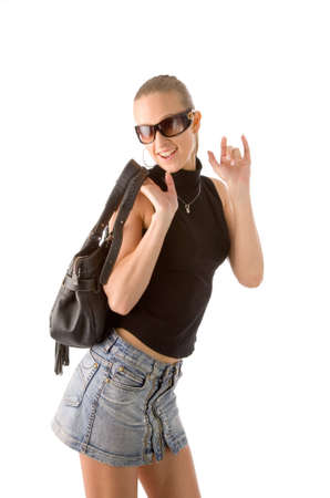 the blond woman with leather handbag isolated on white photo