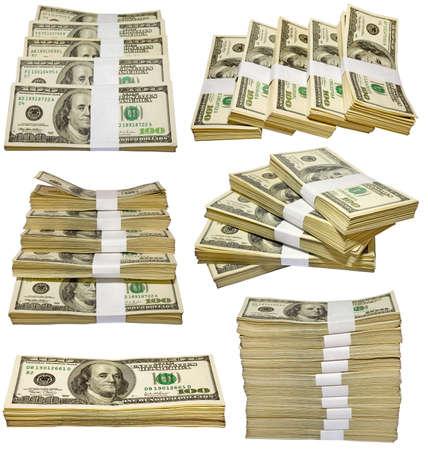 Les milliers de dollars US tas isol�s sur fond blanc  Banque d'images