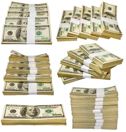 the thousands US dollars heaps isolated on white background photo
