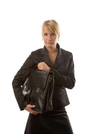 the young businesswoman with case on white background Stock Photo - 1172147