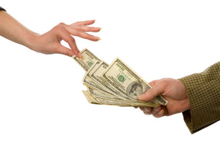 the hands with US dollars on white background Stock Photo