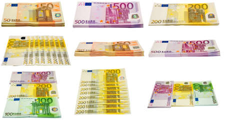 batch of euro: the collection of euro banknotes bundles on white background