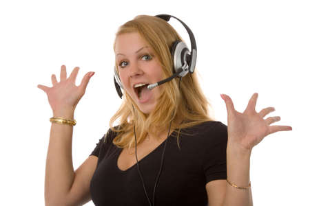 the lovely blond woman with headset on white background photo