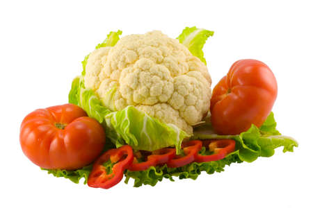 the still life from tomatoes, pepper, cauliflower and salad Stock Photo - 1216428
