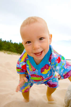 the portrait of small boy on beach Stock Photo
