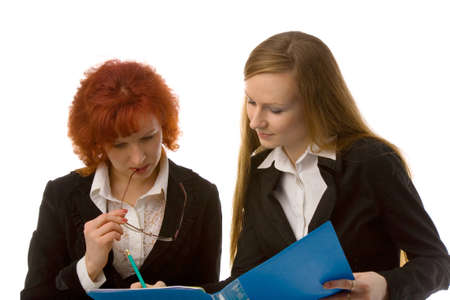 patron: the two young women with folder on white background Stock Photo