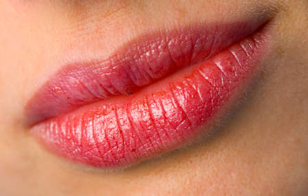 the female lips with cosmetics macro shot