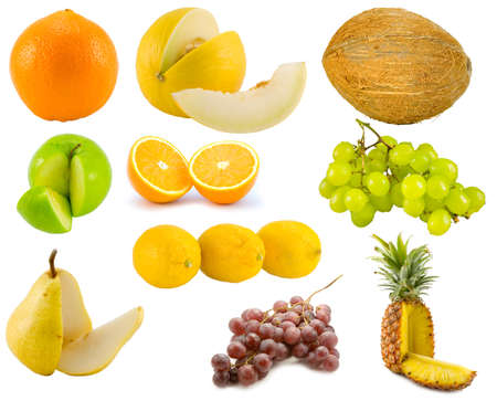 the fruits collection isolated on white background photo