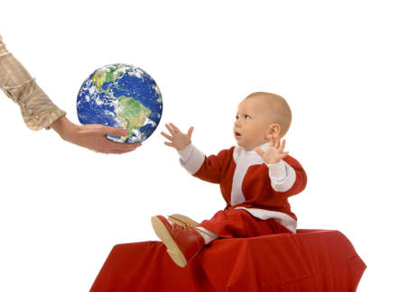 the small boy in christmas dress on white background Stock Photo - 1778313