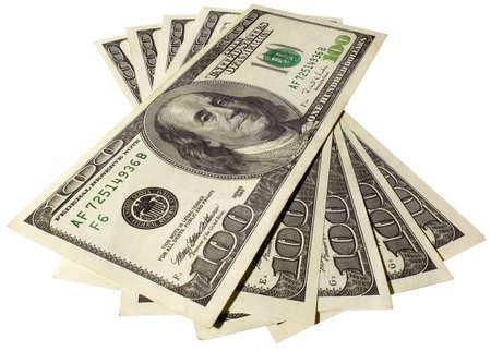 hundreds: The five hundreds dollars isolated on white background