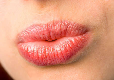 the female lips with cosmetics macro shot photo