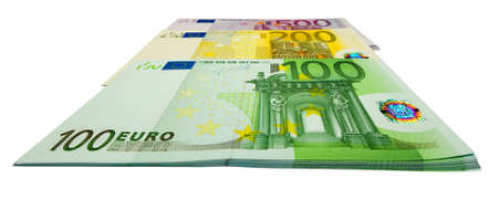 batch of euro: the tree bundles of euro banknotes isolated on white background