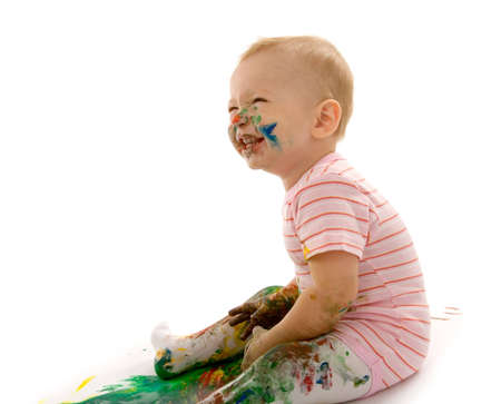 small boy gouache painting on white background Stock Photo - 2033709