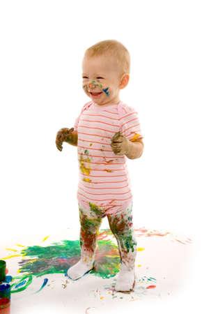 small boy gouache painting on white background photo
