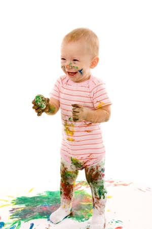 small boy gouache painting on white background Stock Photo
