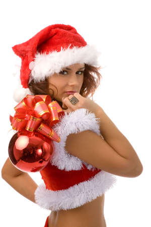 young woman in christmas fancy dress on white background Stock Photo - 2211019