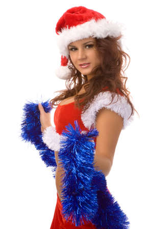 young woman in christmas fancy dress on white background Stock Photo - 2211021