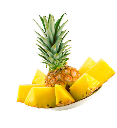 sliced ripe pineapple isolated on white background photo