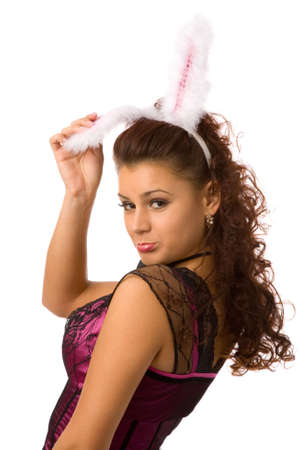 portrait of young woman dressed as sexy rabbit Stock Photo