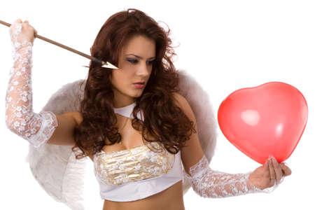 sexy woman dressed as angel with arrow and red balloon photo