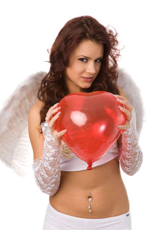 sexy woman dressed as angel with red balloon photo