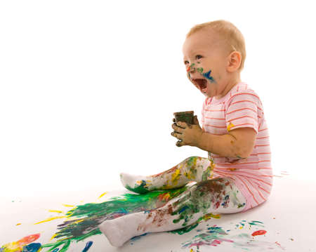 smudgy: small boy gouache painting on white background Stock Photo