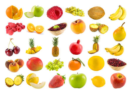 set from thirty various fruits and berries isolated on white photo