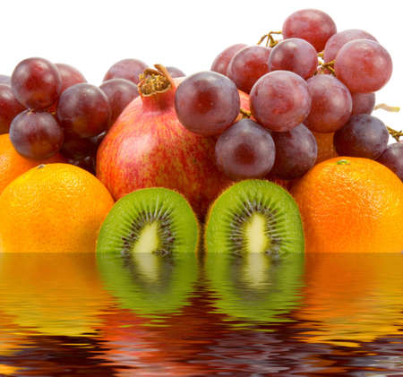 fruits in water on white background isolated photo