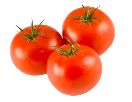three full tomatoes isolated on white background