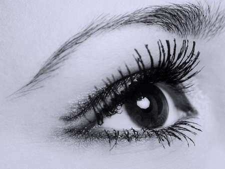 female eye with long eyelashes, macro, black and white photo