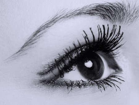 sch�ne augen: Weiblich Augen mit langen Wimpern, Makro-, Schwarz-Wei� -