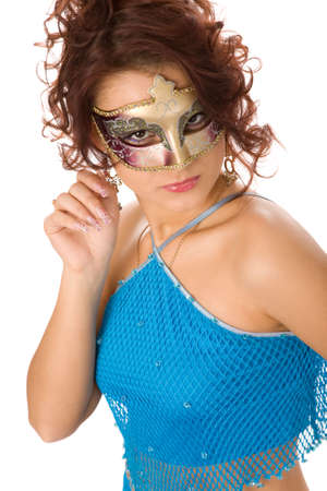 beautiful woman in blue dress and carnival mask on white background photo