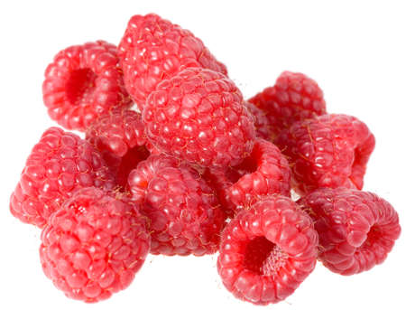 pile of raspberries isolated on white background