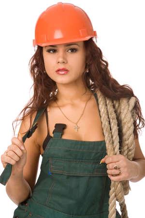 pretty woman in orange helmet on white background Stock Photo - 2590597