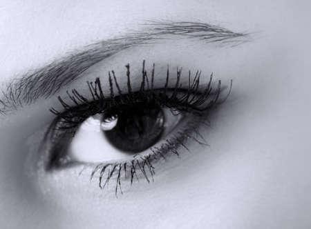 female eye with long eyelashes macro, black and white photo