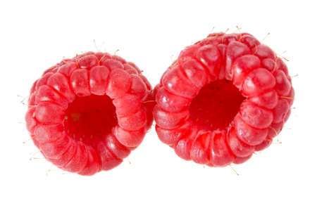two large raspberry isolated on white background