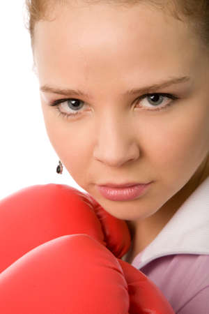 girl with red boxing gloves on a white background photo