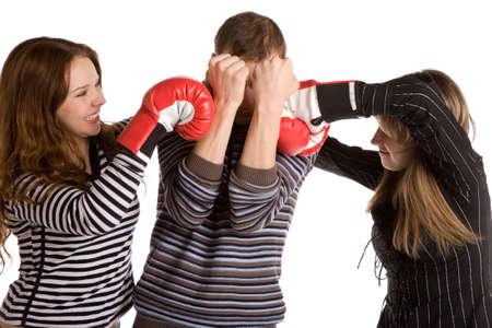 three young people boxing, white background, isolated photo