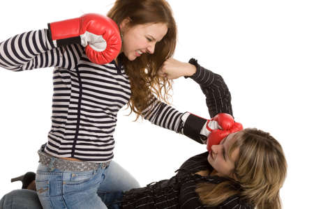 two boxing women isolated on a white background photo