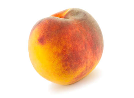 single full peach isolated on white background